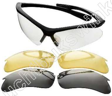 Champion Ballistic Shooting Glasses,  Black Frame with 3 Lens Set