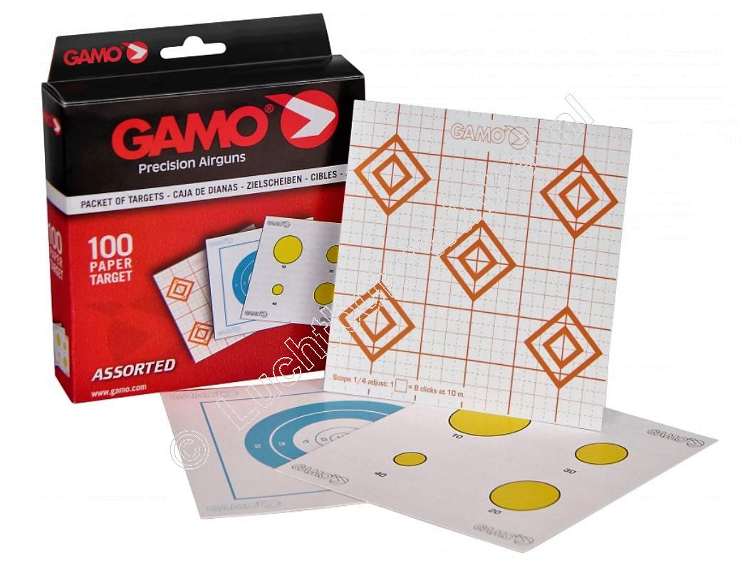 Gamo  ASSORTED Airgun Paper Targets 14x14 centimeter content 100 pieces