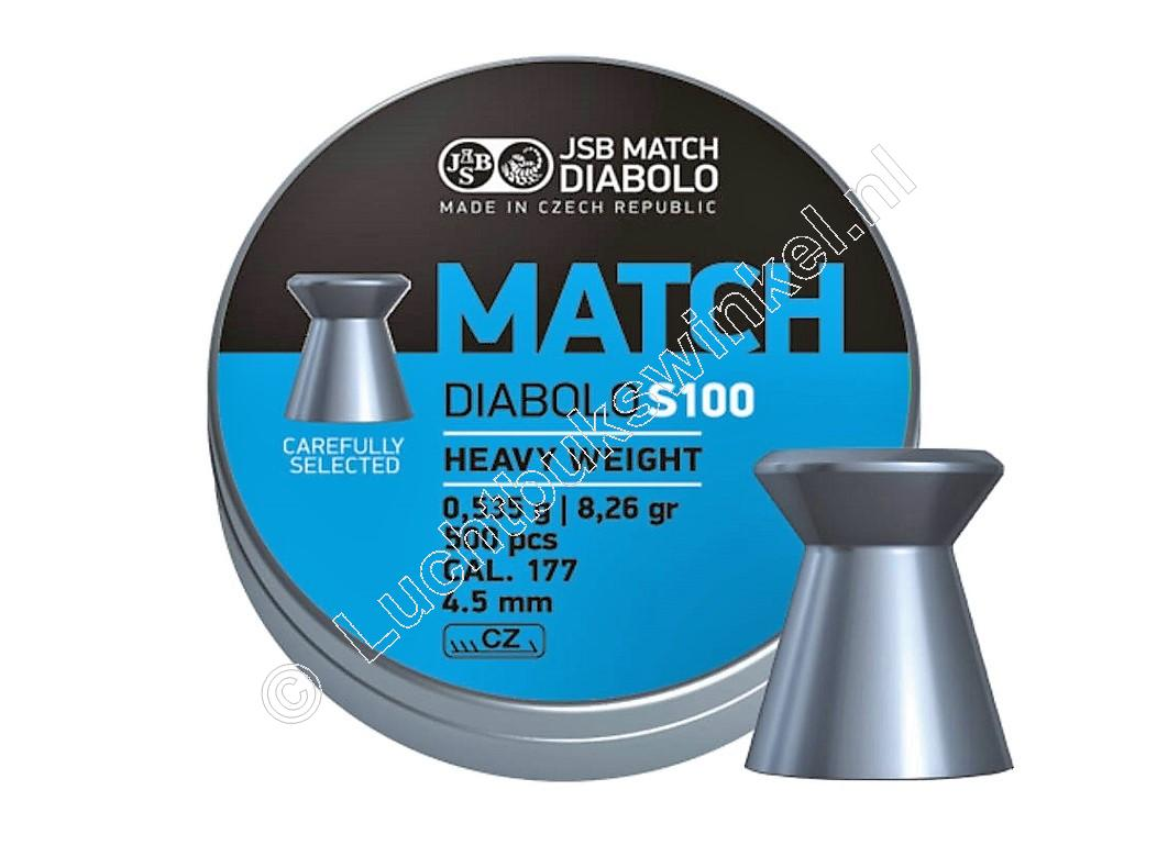 JSB Match S100 Heavy Weight 4.50mm Luchtdruk Kogeltjes blikje 500