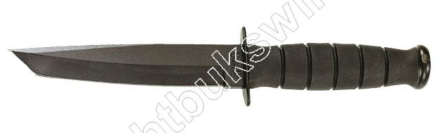 Ka-Bar 1254 BLACK TANTO SHORT Mes 23.5 cm Recht Lemmet, Kraton Greep, Lederen Schede