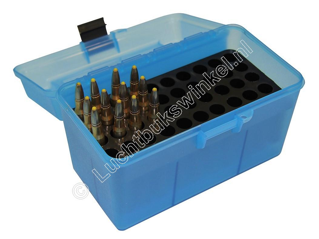 MTM H50RL DELUXE Ammo Box CLEAR BLUE content 50